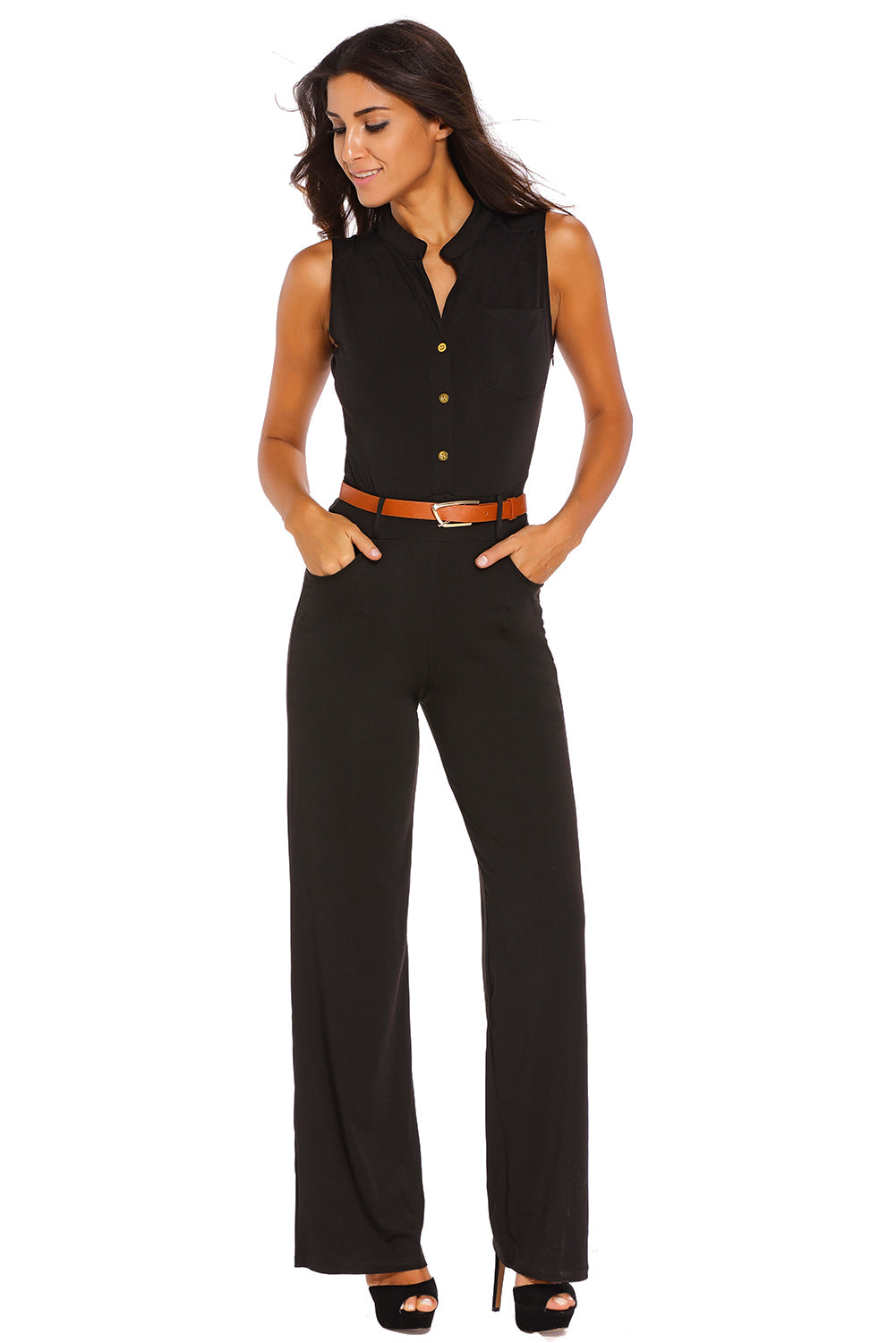 Black Belted Wide Leg Jumpsuit