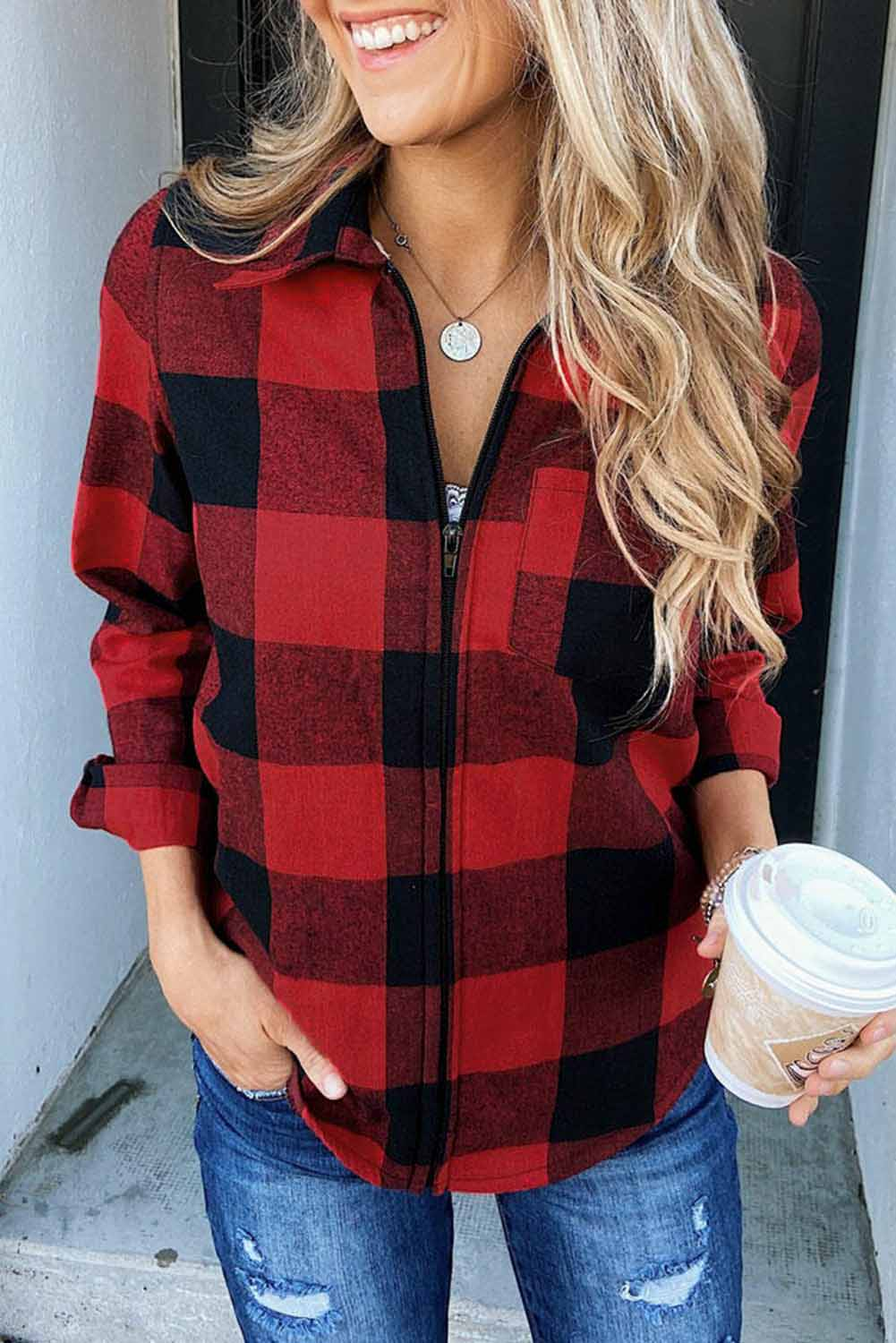 Red Plaid Turn Down Collar Pocket Zipper Long Sleeve Coat