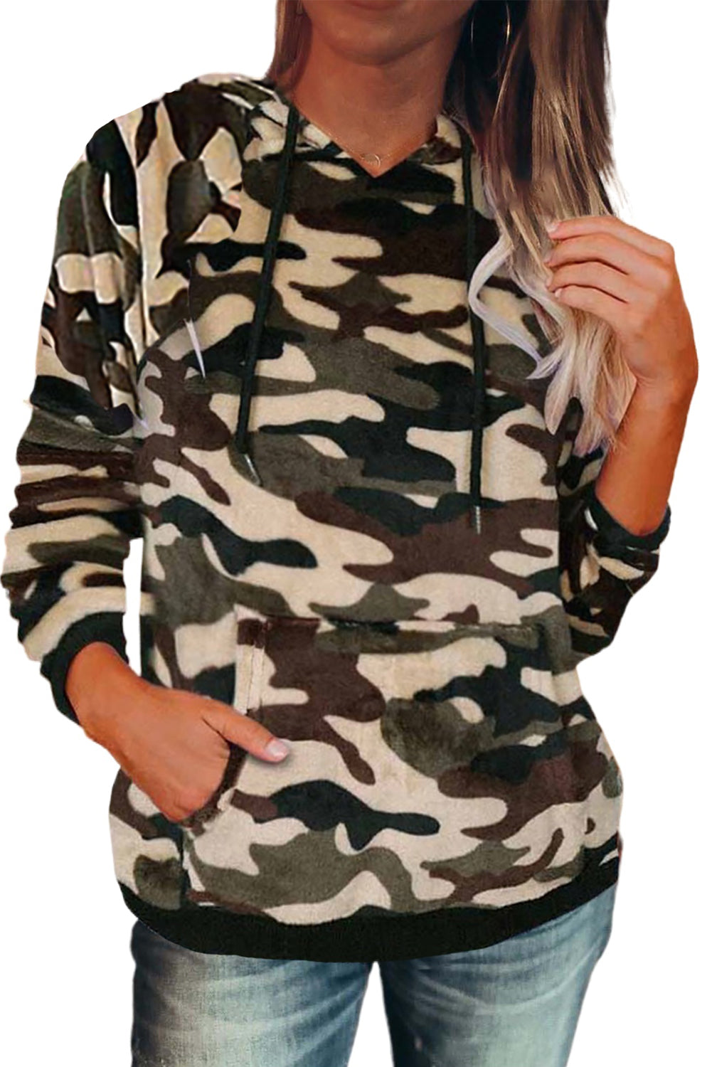 Green Camo Kangaroo Pocket Plush Hoodie