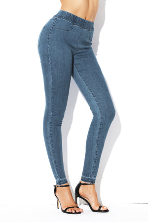 Cobalt Blue Elastic Waist Jeans Stretch Pants for Women
