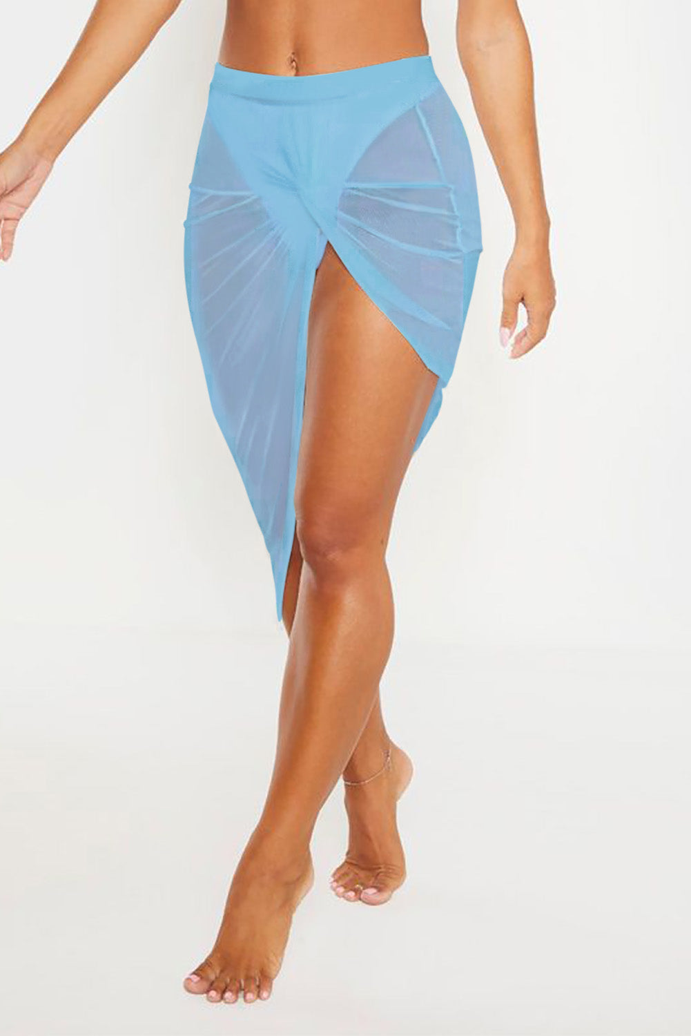 Blue Twist Ruched Beach Dress