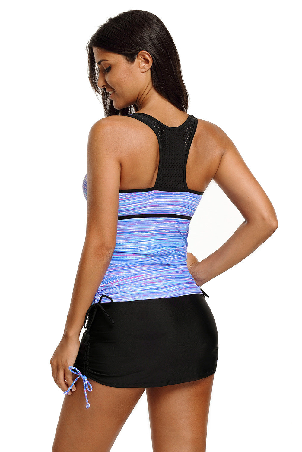 Purplish Filtered Stripe Mesh Racherback Tankini Swimsuit