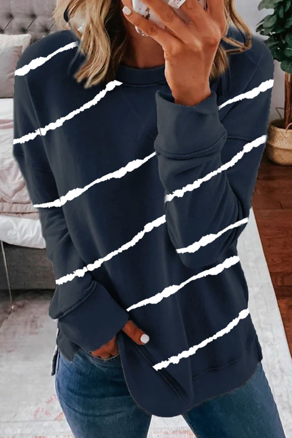 Striped Tie-dye Print Navy Sweatshirt with Slits