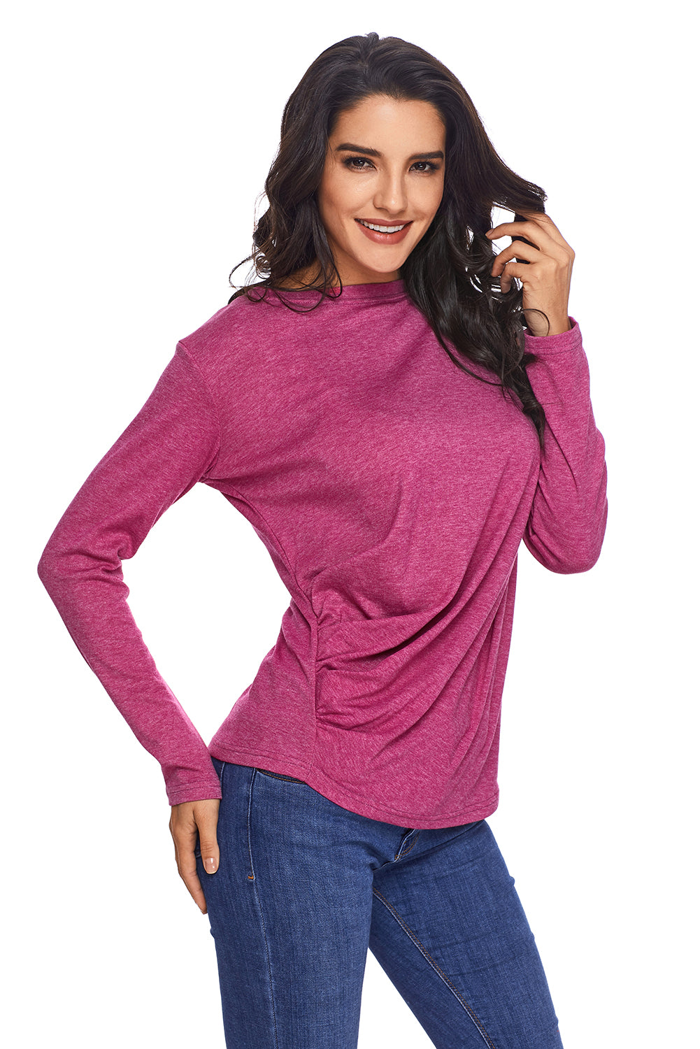 Lilac Draped Round Neck Sweatshirt for Women
