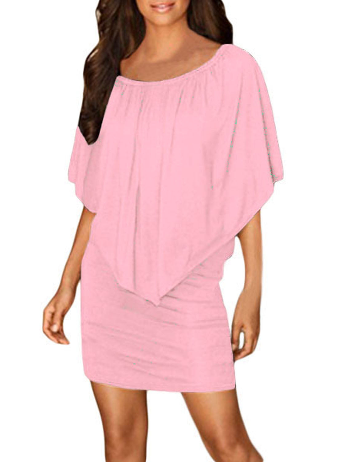 Multiple Dressing Layered Pink Mini Poncho Dress