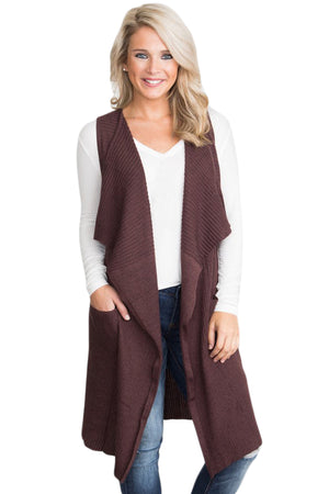 Coffee Pocket Long Cardigan Vest