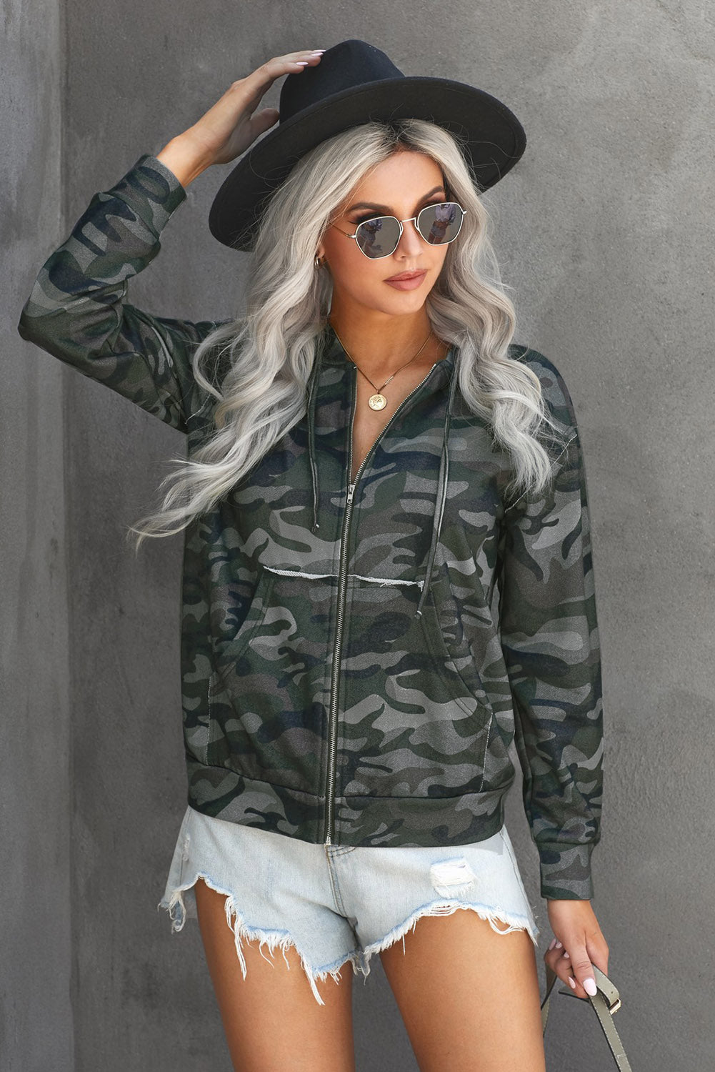 Green Camo Print Zip Up Hooded Jacket