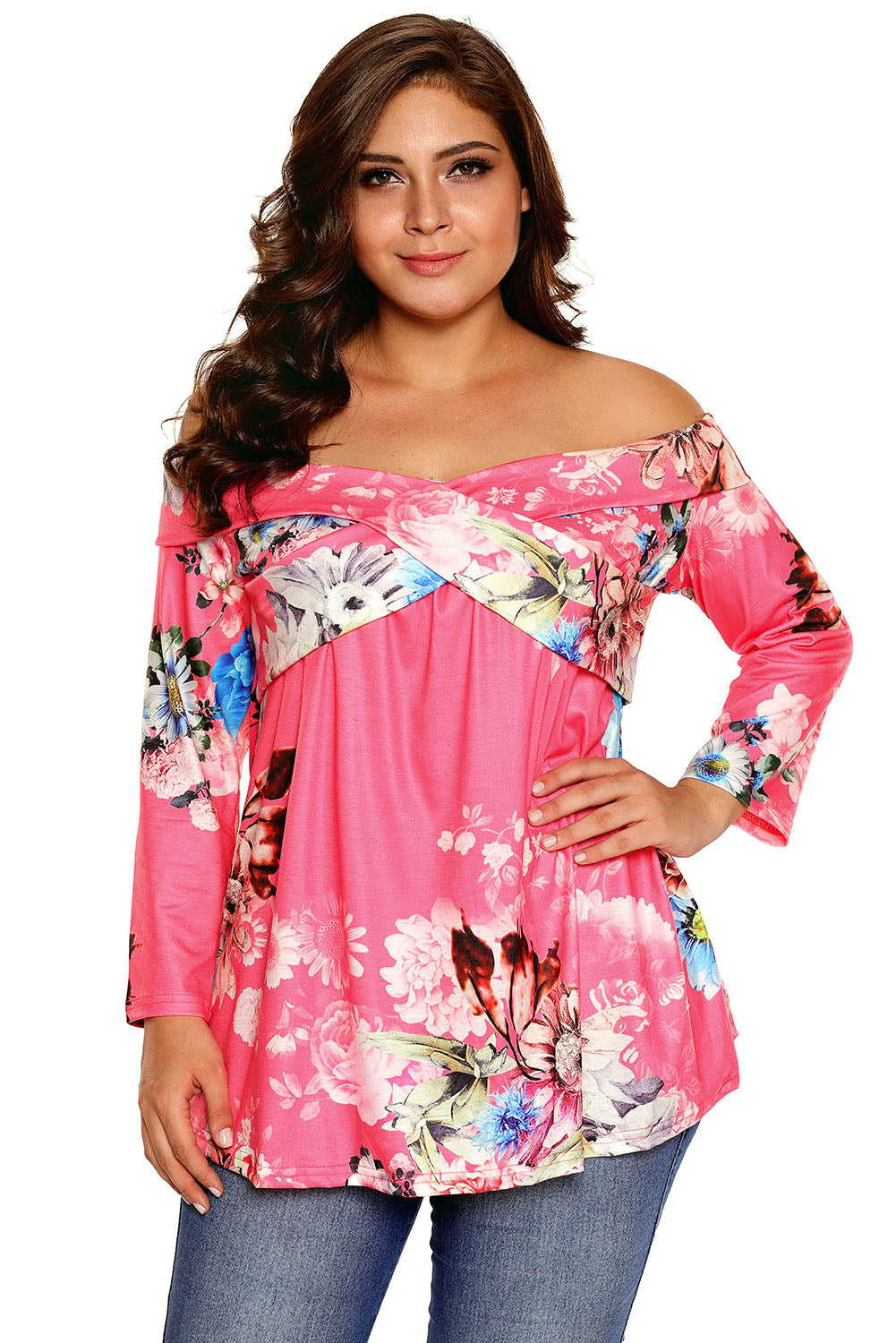 Rosy Floral Off Shoulder Crisscross Top