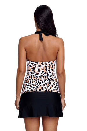 Halter Leopard Flyaway Tankini and Skirted Swimsuit