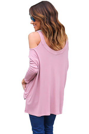 Pink Long Sleeve Relaxed Fit Cold Shoulder Top