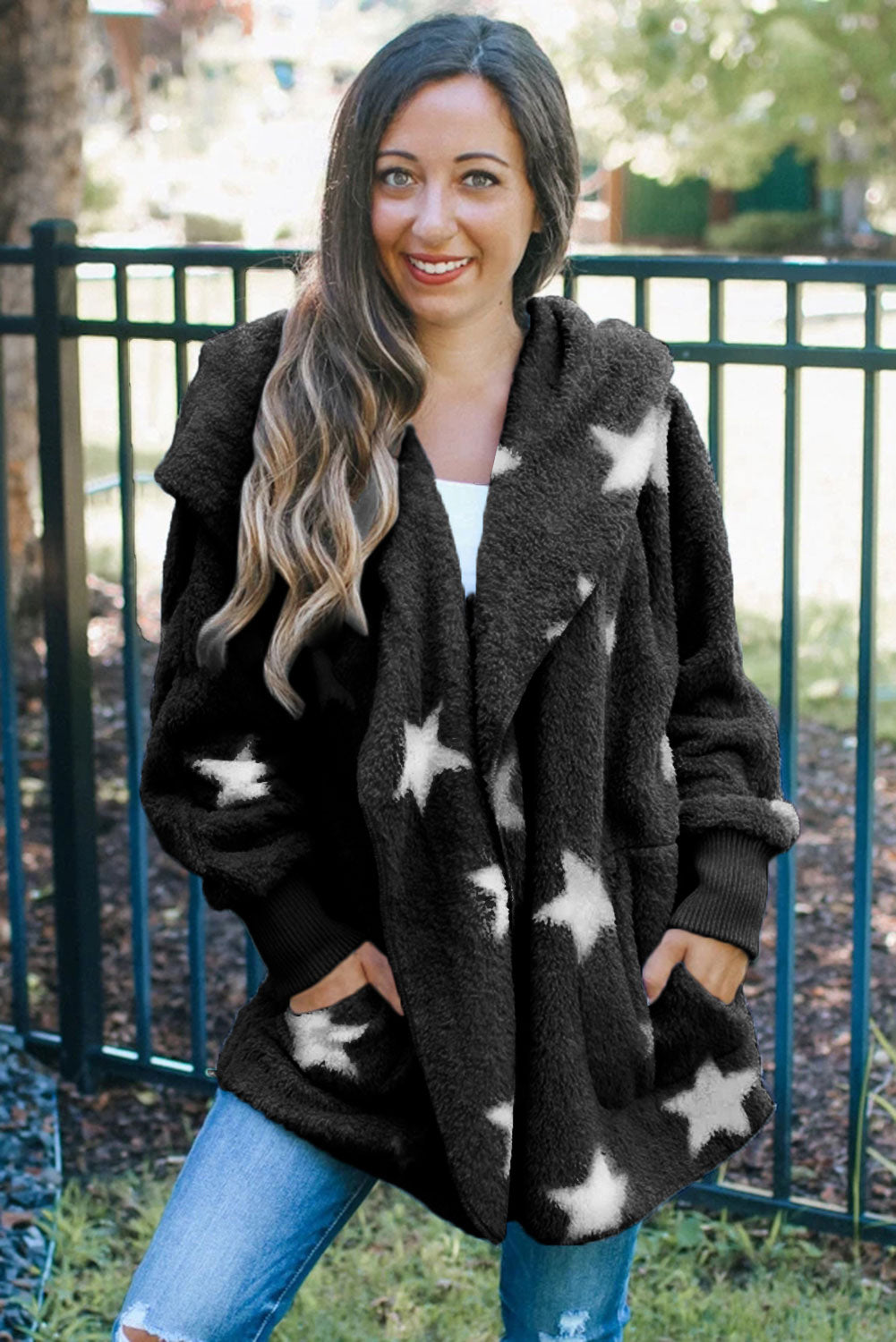 Black Lapel Collar Scatter Star Fuzzy Coat