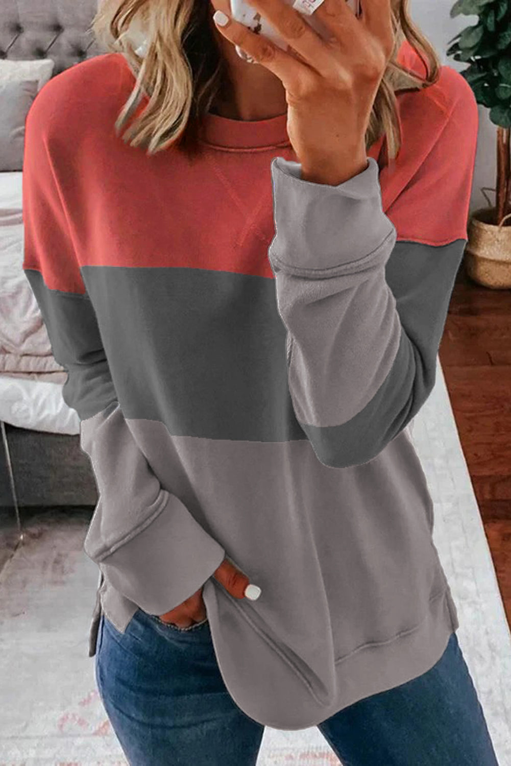 Colorblock Gray Contrast Stitching Sweatshirt with Slits