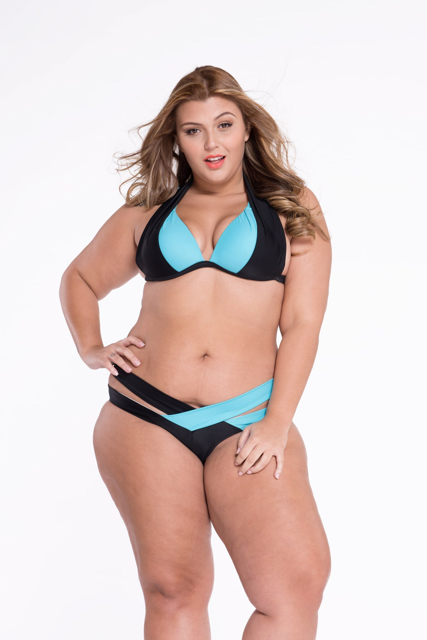 Black Blue Color Block Push up Swimwear