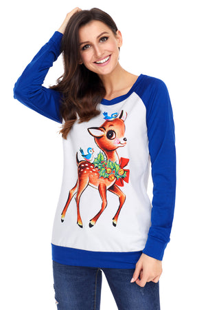 Reindeer and Birds Blue Long Sleeve Christmas Shirt