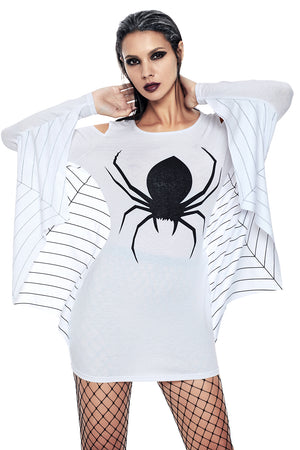 White Spiderweb Jersey Tunic Dress