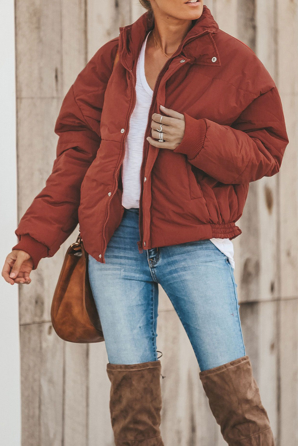Red Holly Pocketed Puffer Jacket