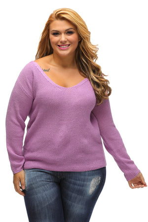 Purple Knitted Long Sleeve Plunge Jumper
