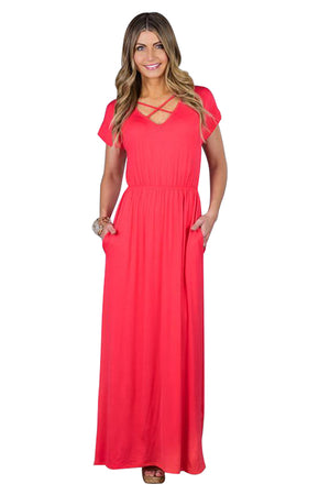 Rosy Red Crisscross V Neck Short Sleeve Maxi Jersey Dress