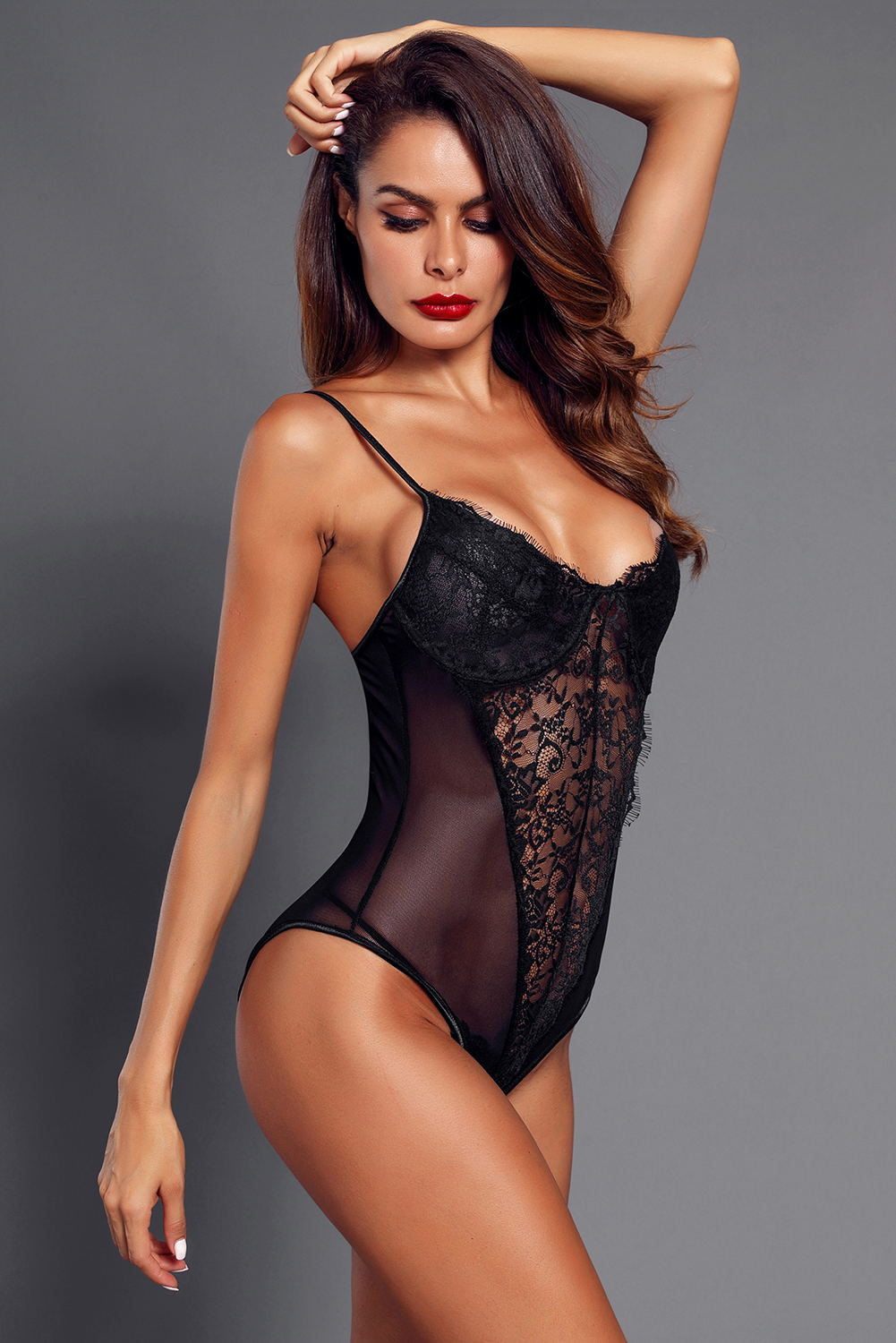 Black Lace Mesh Bodysuit Push up Teddy Lingerie