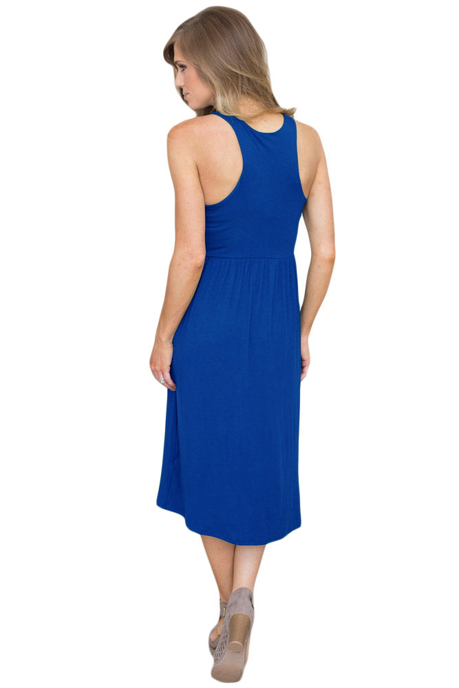 Solid Racerback Midi Jersey Dress in Blue