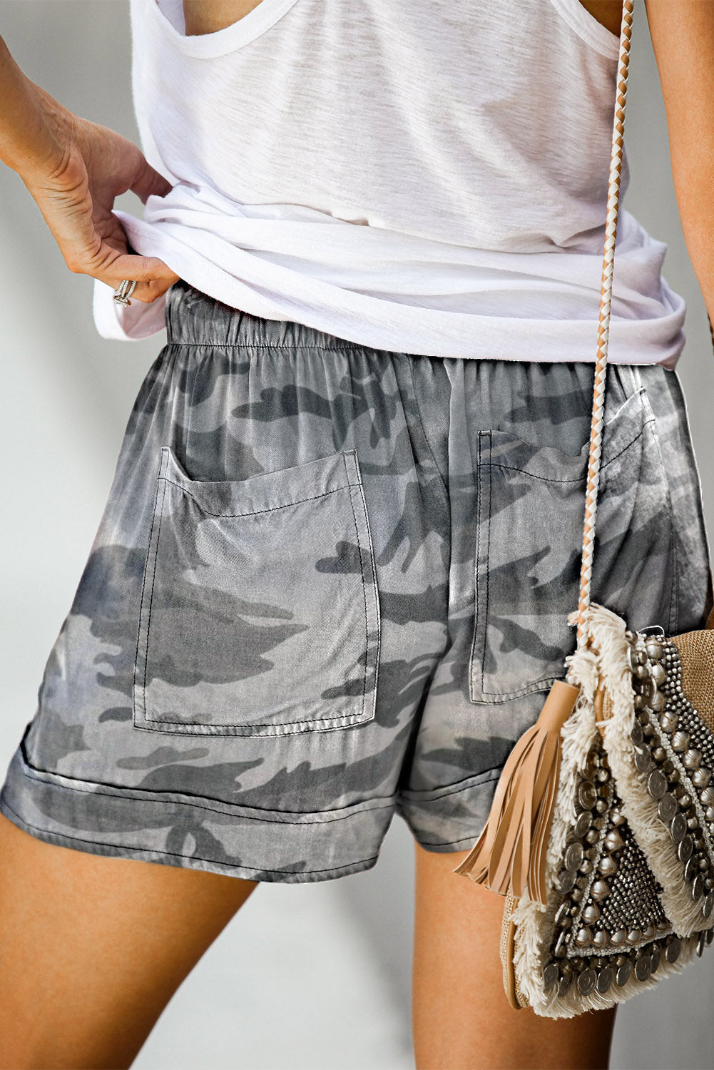 Camouflague Print Drawstring Casual Elastic Waist Pocketed Shorts