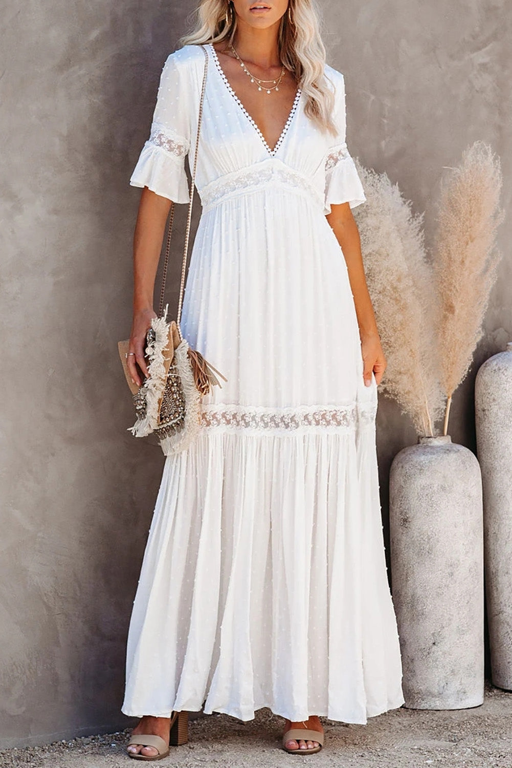 Swiss Dot Lace Trim Maxi Dress