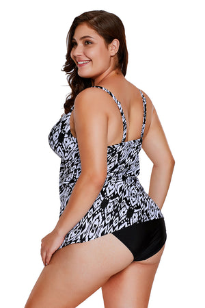 Monochrome Printed Flyaway Overlay 2pcs Swimsuit