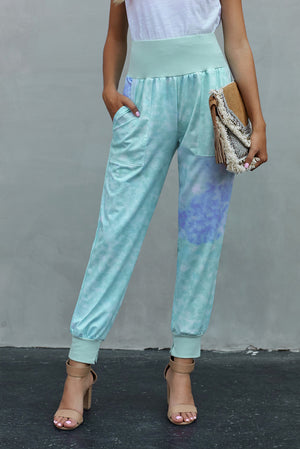 Sky Blue Tie-dye Pocket Casual Pants With Slit