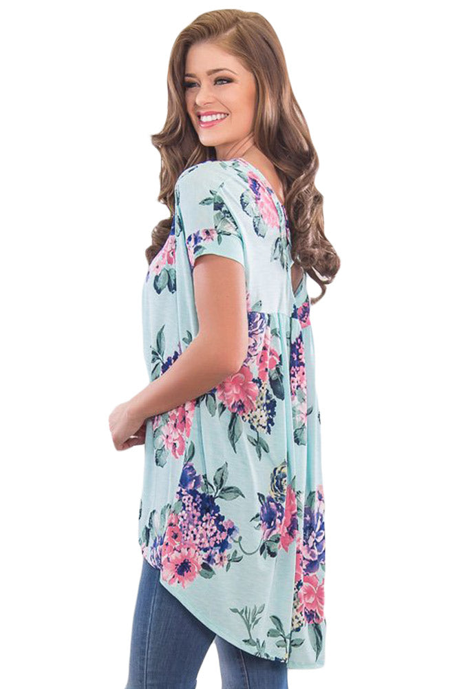 Mint Floral Print Criss Cross Back Top