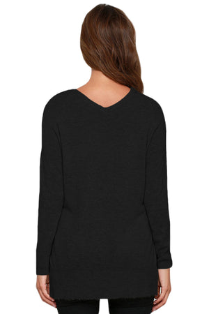 Heather Black V Neck Sweater