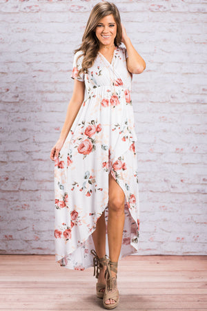 White Grounding Petals Print Boho Maxi Dress
