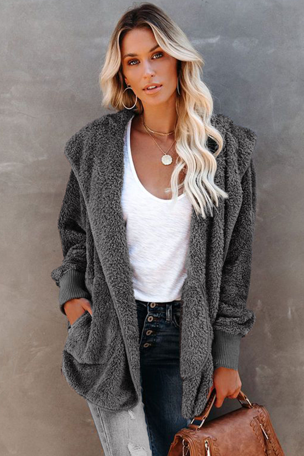 Soft Fleece Hooded Open Front Coat
