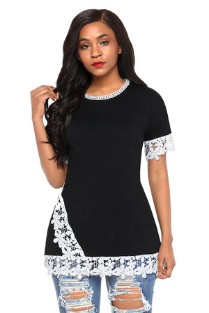 Delicate Lace Trim Black Short Sleeve Top