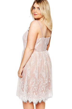 White Big Girl Sweet Lace Skater Dress