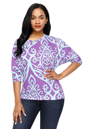 Purple Aqua Damask Print Half Sleeve Top