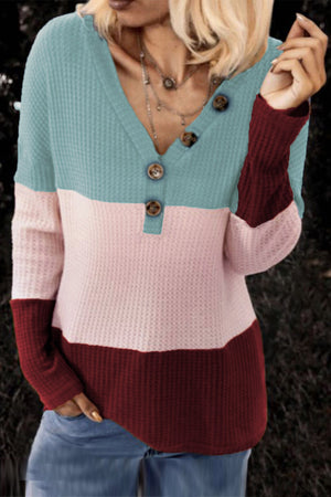 Sky Blue V-neck Color Block Button Waffle Knit Pullover