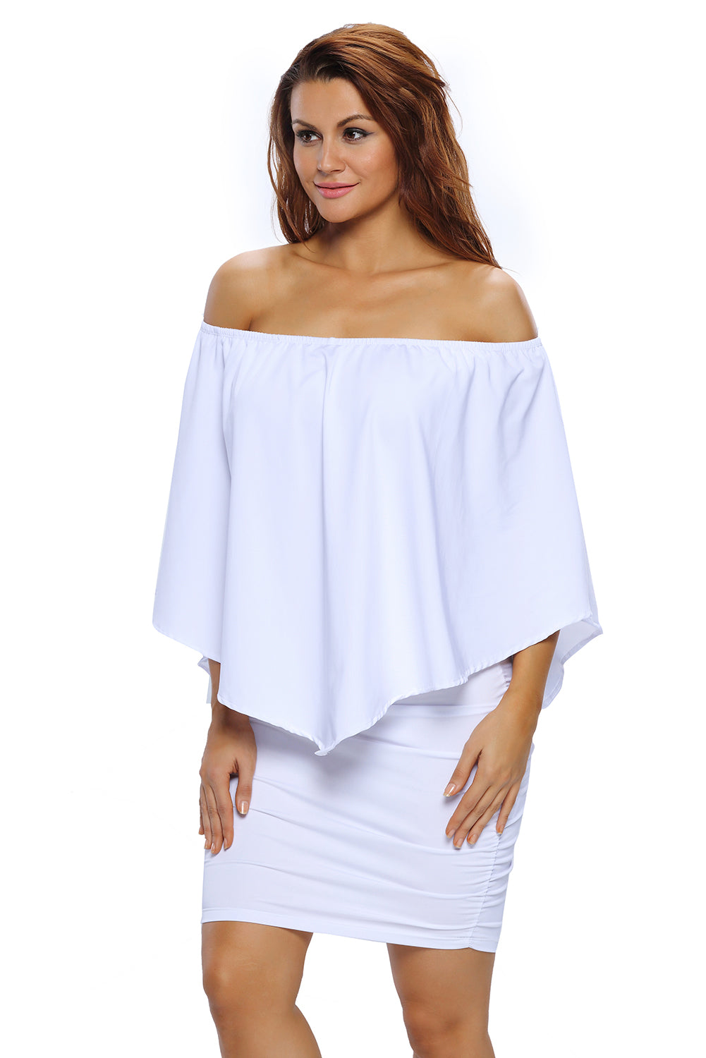Multiple Dressing Layered White Mini Poncho Dress