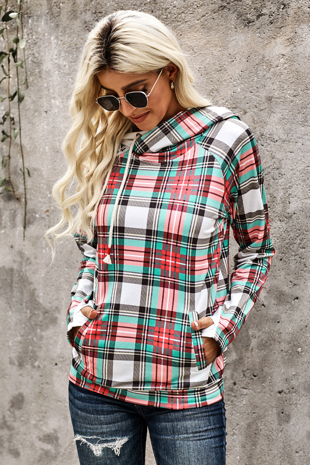Multicolor Cowl Neck Plaid Drawstring Hoodie with Thumb Hole