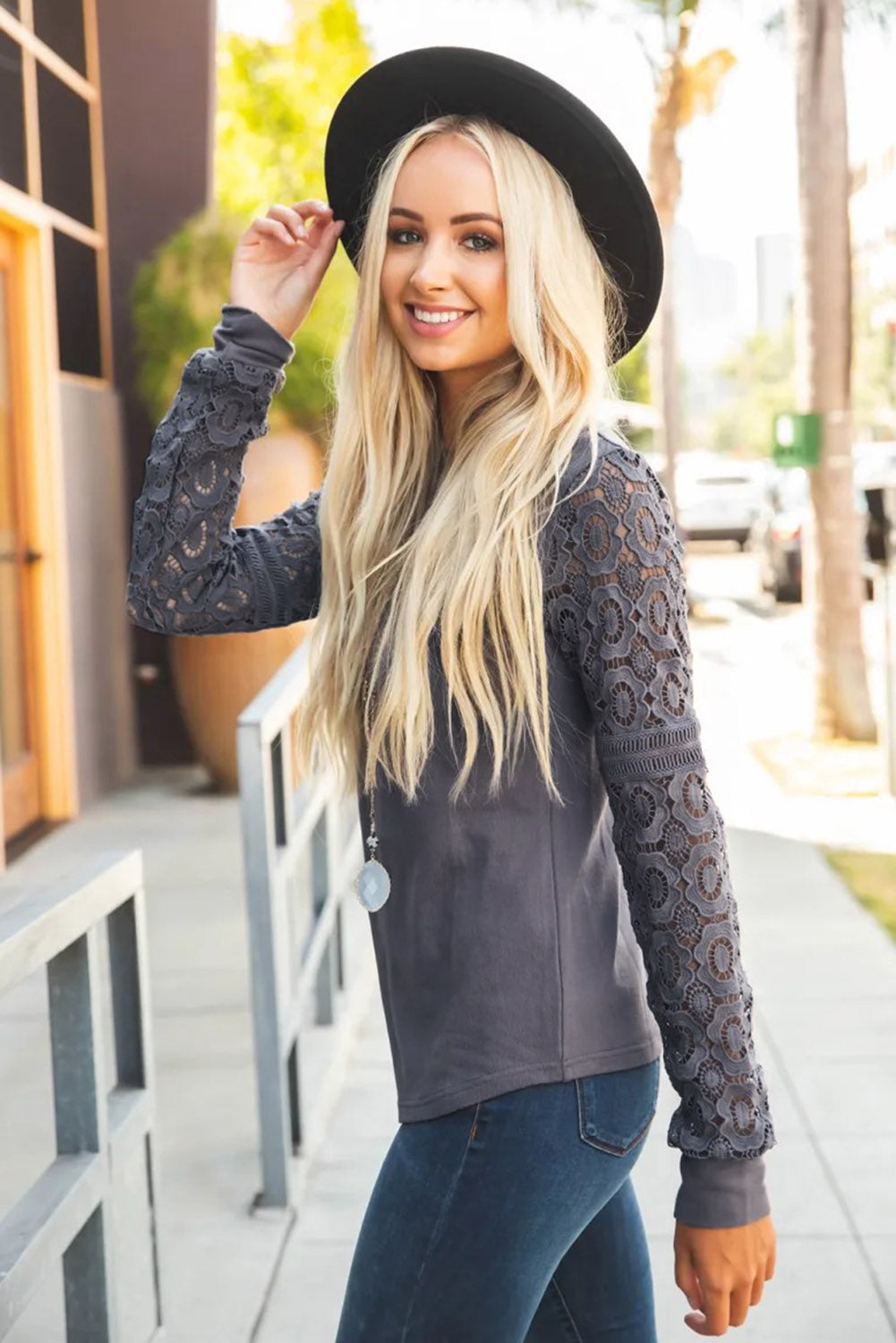 Gray Lace Long Sleeve Top