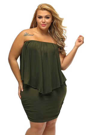 Plus Size Multiple Dressing Layered Army Green Mini Poncho Dress