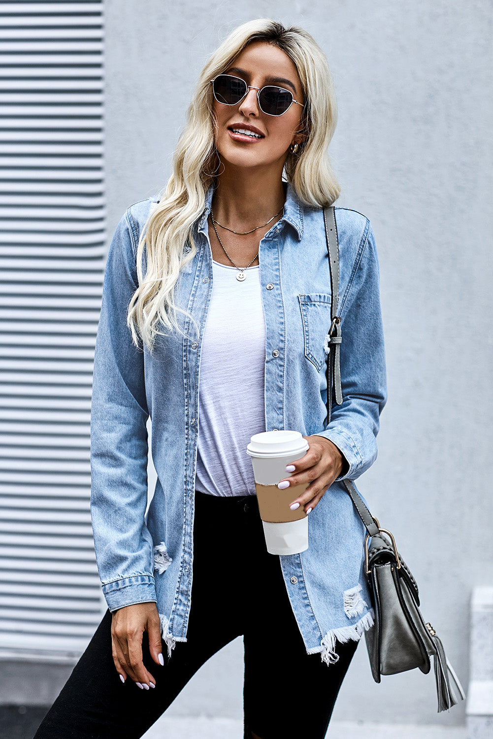 Fade Blue Ripped Denim Jacket