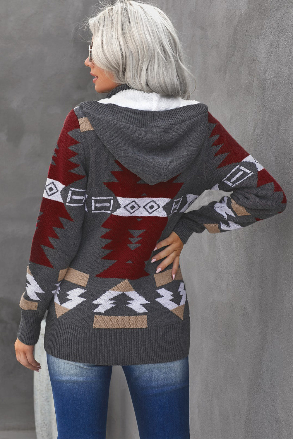 Gray Retro Jacquard Pattern Buttoned Front Hooded Sweater