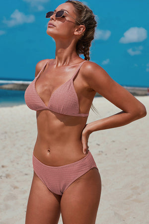 Pink Triangular Smocked Bikini Set