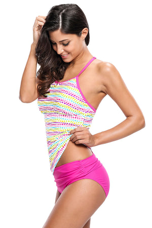 Colorful Polka Dot Rosy 2pcs Tankini Swimsuit