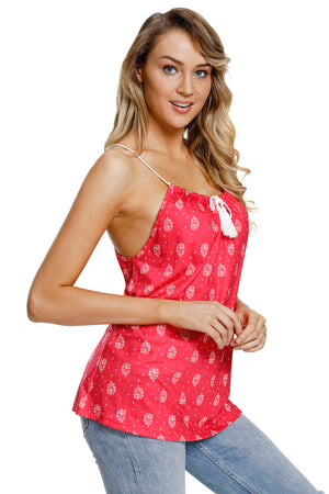 Red Flowery Print Spaghetti Strap Vest Top