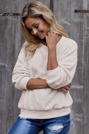 Beige Terry Thread Cashmere Sweatshirt