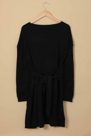 Black Don't Let Me Go Tie Sweater Dress