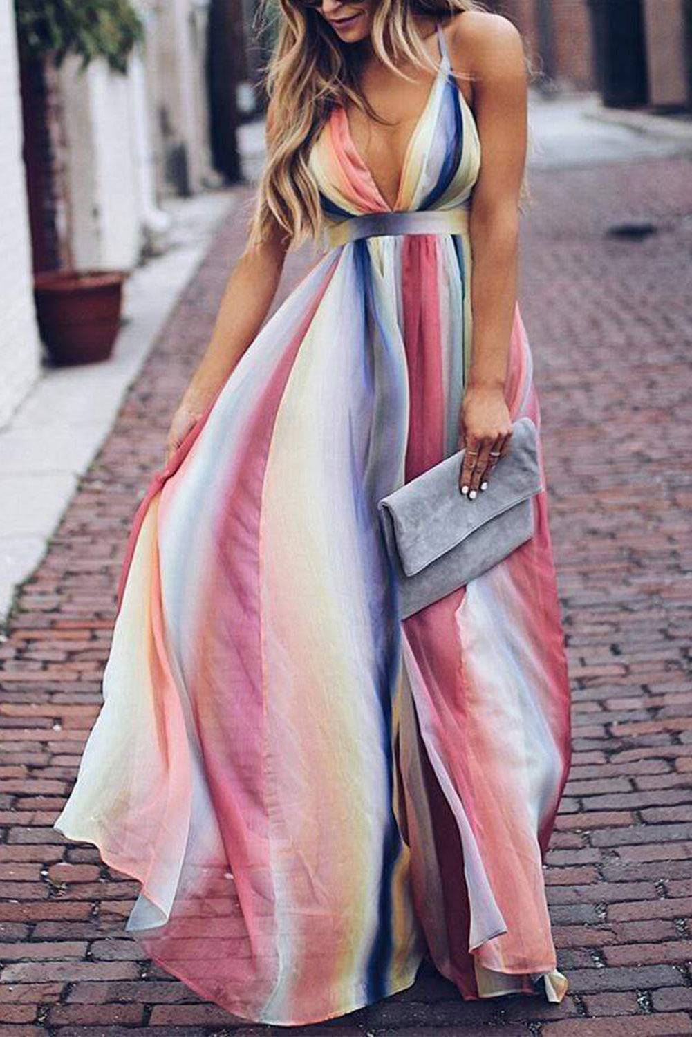 Pink Sugar Plum Striped Maxi Dress