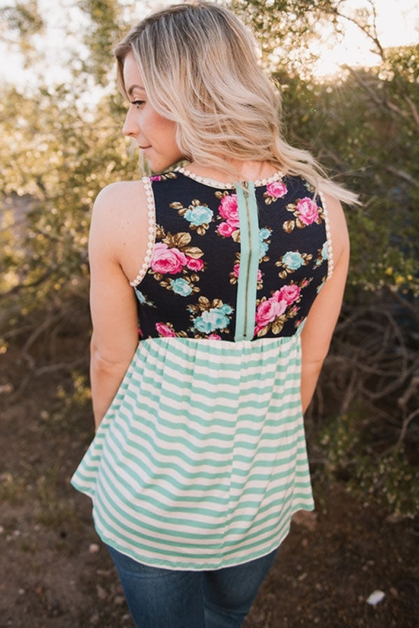 Mint Stripes and Floral Womens Tank