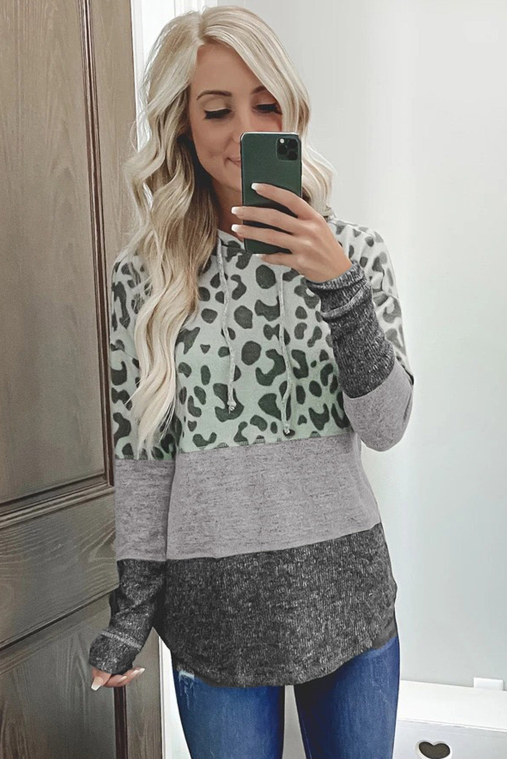Gray Leopard Print Ribbed Texture Color Block Hoodie